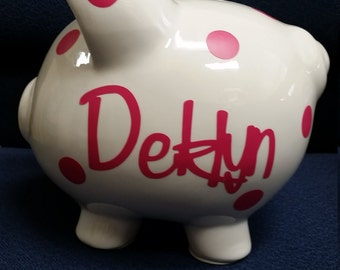 Personalized or monogrammed Piggy Bank with Vinyl Decal-Custom Piggy Bank for baby shower,new baby,baptisms