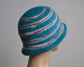 Nuno Felted Hat - Felted Hats - Merino Wool Felted Hat - Winter Hats - Rainbow hat - Winter Hats  - Felted Hat