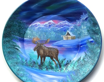 Hand Painted 11 Inch Gold Pans Mountain Blue Winter MOOSE