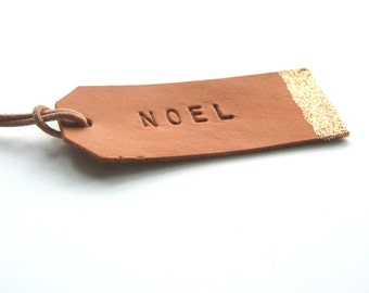 Personalized Leather Gift Tag, Hand Stamped Leather Tag, Festive Decor, Stocking Filler