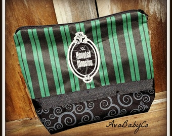 Personalized Haunted Mansion Maid Inspired Turquoise Chevron Cosmetic Makeup Bag or Pencil Case