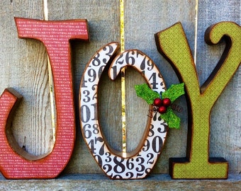 "Chunky Wood Letters ""JOY"" Christmas Decor, Antiqued Chunky Wood JOY letters with Scrapbook Paper & Holly Leaves, Berries"