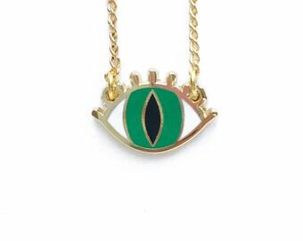 EYE NECKLACE green enamel