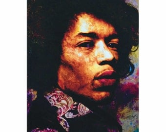 Pop Art 'Jimi Hendrix Imagination Key' by Artist Mark Lewis, Colorful Jimi Hendrix Painting Limited Edition Giclee Print on Metal or Acrylic
