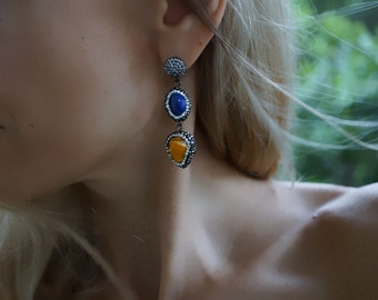 Shirley - Stunning Shell and Rhinestones Statement Earrings