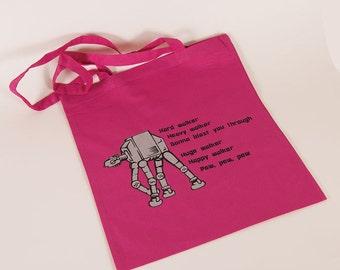Pink bag with AT-AT and Walker-poem
