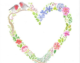 Flowers and Birds Heart Wreath - Two Little Robins on a Heart shaped Tree - Print of original Watercolor