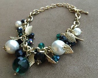 Original Handmade Women's Fall Leaf Charm Bracelet in Gold, Green, and with Faux Pearls