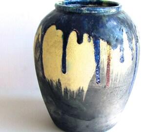 Raku Drip Vase, by Elaine Wolf-Baker, Inspired by Japanese Shin Shigaraki, American Studio Pottery, Vintage 70s,  Iridescent Blue, Signed