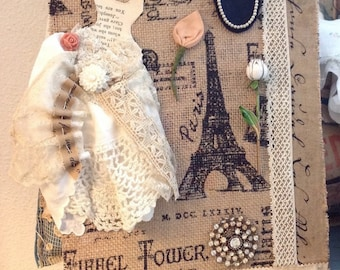Pairs french court dress assemblage  burlap art, shabby chic paris decor, paper and fabric dress art