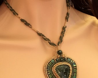 Bead Embroidery Necklace With Kambaba Jasper Cabochon and Spiral Chain OOAK