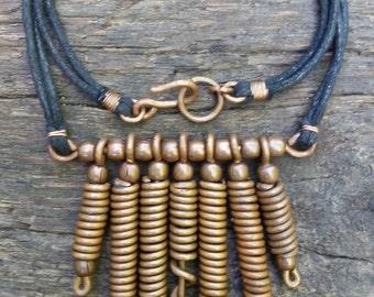 "20"" Copper Coil Chandelier Necklace (black cord)"