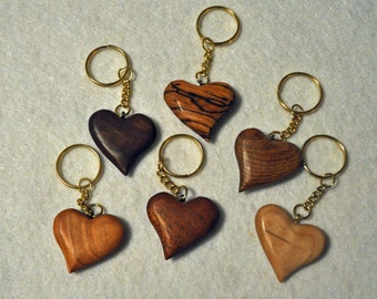 Wedding Favors     Wooden Heart Key Chain Variety  6 key chains Curly