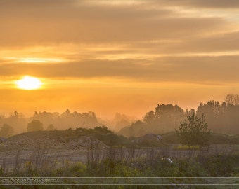 Nature wall art decor, hazy sunrise print, countryside, sunrise photograph over field and forest, print you can frame for your wall