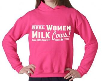 ON SALE Real Women Milk Cows Hooded Sweatshirt