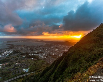 Aerial View of Sunrise in Kaneohe, Oahu, Hawaii from Stairway to Heaven Hiking Trail