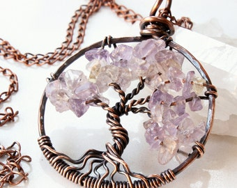 Tree of Life Necklace, Ametrine Copper wire wrapped talisman necklace, wire work, light purple, yellow, holiday gift for her, alira jewelry
