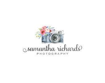 Photography Logo and watermark, Premade Logo Design, Watercolor camera Logo  186