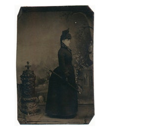 Victorian BUSTLE profile Excellent Fashion Tintype surreal Tintype Photograph 1800s 19th century antique