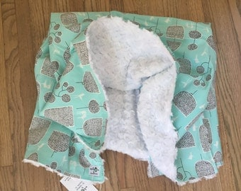 the chic baby blanket - aqua trees and birds