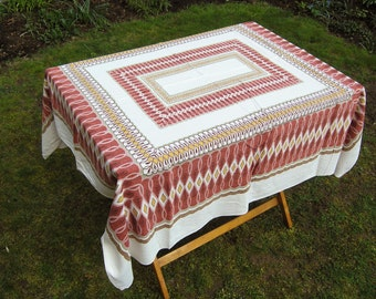 1960s 1970s Cotton Tablecloth Geometric Pattern in Red, Yellow, Brown, Off-White, Vintage Rectangular Printed Tablecloth, Mid Century Linens