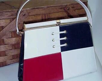 Mid Century Red White & Blue HandBag    For Your Patriotic Summer