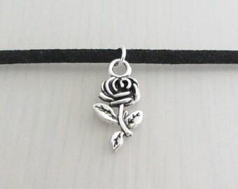 Custom Color Silver Rose Flower Charm Faux Suede Choker Necklace, 3mm Width Faux Suede Choker Necklace, Rose Charm Necklace, Flower Choker
