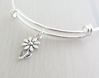 Silver Daisy Flower Charm Bangle, Daisy Charm Bracelet, Adjustable Charm Bangle, Silver Flower Bangle, Stackable Bracelet