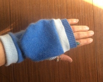 Cashmere Fingerless Gloves with fold over mitten