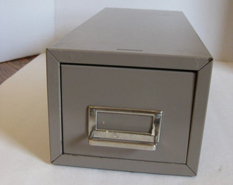 Vintage Industrial Card File Drawer, Card Catalog, File Cabinet, Steelmaster