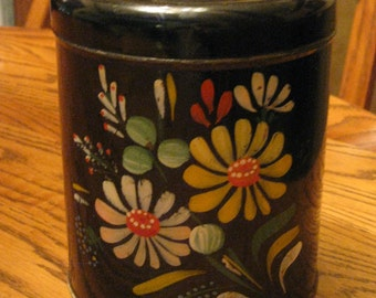 Vintage Hand Painted Canister, Ransburg Indianapolis, Storage Tin, Kitchen Canister