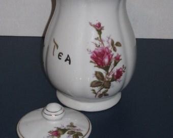 Tea Canister, Vintage Porcelain Tea Storage Container, Tea Canister, Floral Tea Container