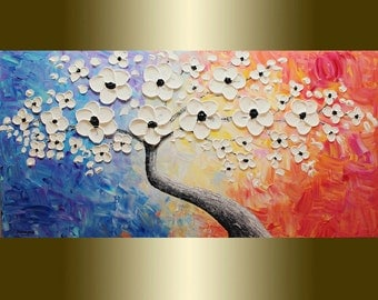 Oil painting Contemporary white flower Blooming Tree Acrylic painting Mixed Heavy Palette Knife