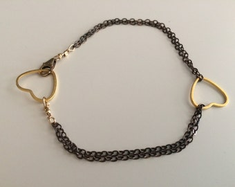 Oxidized Silver, Gold Heart Bracelet