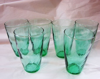 Vintage Libbey Glasses set of 6 Teal Green Optic Swirl 8 oz Glass Tumblers