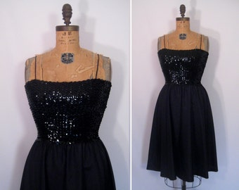 1970s 1980s black party dress • 70s 80s sequin disco dress • vintage stella by starlight dress