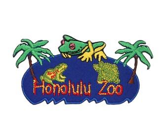 "Hawaii ""Honolulu Zoo"" Tropical Pond Patch Island Vacation Craft Iron-On Applique"