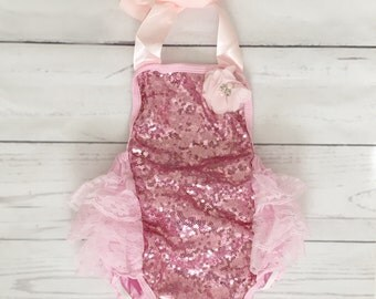 Baby girls pink 1st birthday outfit-pink sequin birthday-pink glitter 1st birthday- glitter bubble romper-baby girl cake smash outfit