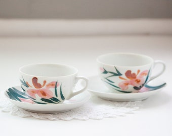 Two Cups and Saucers, Yamaka Japan Asian Motif