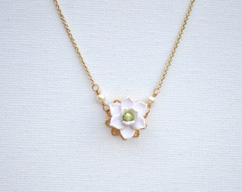 Delicate White Magnolia Necklace. Bradley Delicate Necklace in White Magnolia .