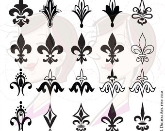 Fleur De Lis Symbol Heraldic Emblem Clip Art Commercial Personal Use Business Graphics Digital Retro Page Decoration Scrapbook Craft 10224