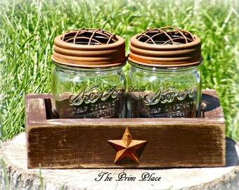 Primitive Handcrafted Wooden Box With Jelly Jars & Rusty Lids-Cotton Ball Qtip Holder~Primitive Bathroom~Rustic Bathroom~Bathroom Storage