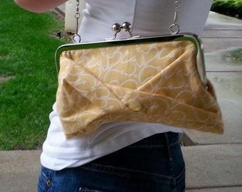 FREE SHIPPING-Squiggle Yellow Taffy Sweet Clutch with Polished Nickel Frame