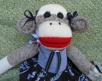 Oakland Raiders Football Brown Red Heel Sock Monkey Girl Doll/Cheerleader