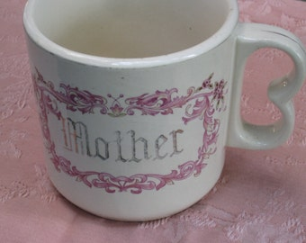"Jumbo Size Antique Ironstone Mug with Pink Design and ""MOTHER"" on the Front - Vintage Home Decor, Storage, Display, Gift, Studio"
