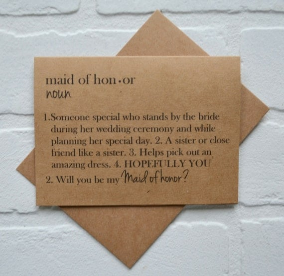 DEFINITION cards will you be my MAID of HONOR dictionary