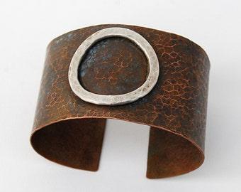 Patina copper and silver cuff