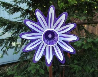 Repurposed Glass Garden Art, Hand Painted Glass Flower - Garden Art - Glass Garden Art - Garden Decor - Garden Gift - Home Decor - Fence Art