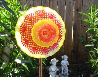 Sun Sculpture Glass Flower Garden Art, hand painted Outdoor garden decoration - Vintage glass garden flower - Garden Gift - Glass Suncatcher