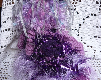 Handknitted slippers woman fairy ruffle hippie psychedelic lilac purple violet lavender  flowers ribbons twisted curls LAMAMADESMATOUS